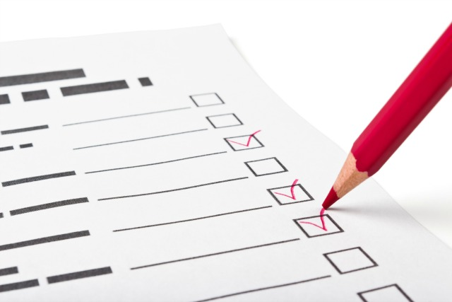 choice of responses to the questionnaire staging pencil checkmark